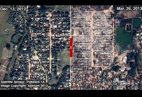 Une carte satellite publiée par Human Right Watch montre l'étendue des violences dans la ville de Meiktila après les émeutes de mars 2013 - DR