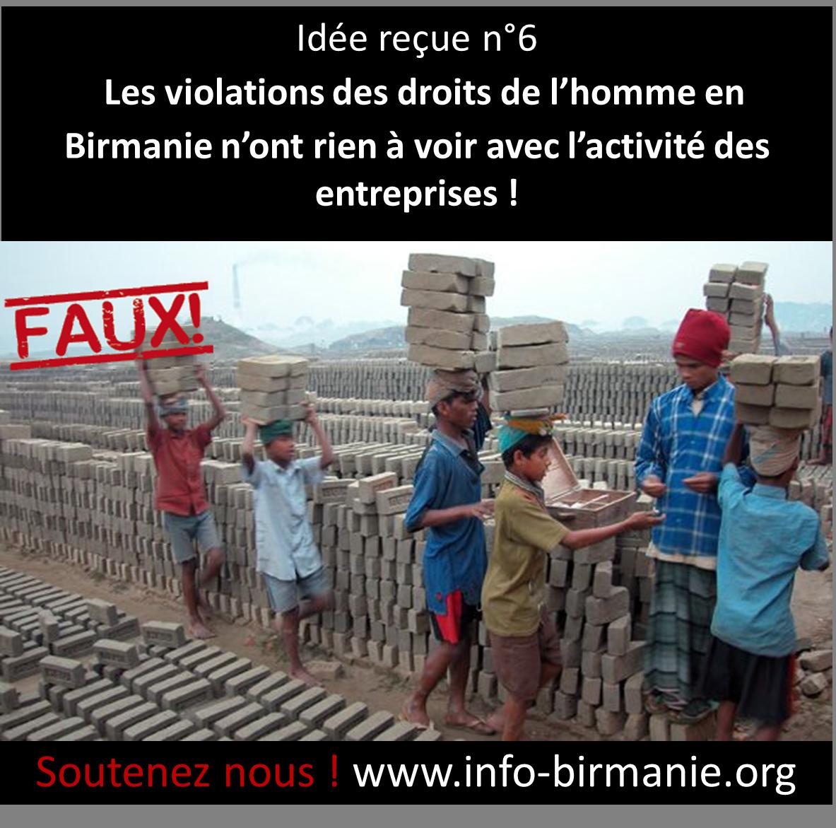 Idée reçue n°6 : Les violations des droits de l'homme en Birmanie n'ont rien à voir avec l'activité des entreprises !