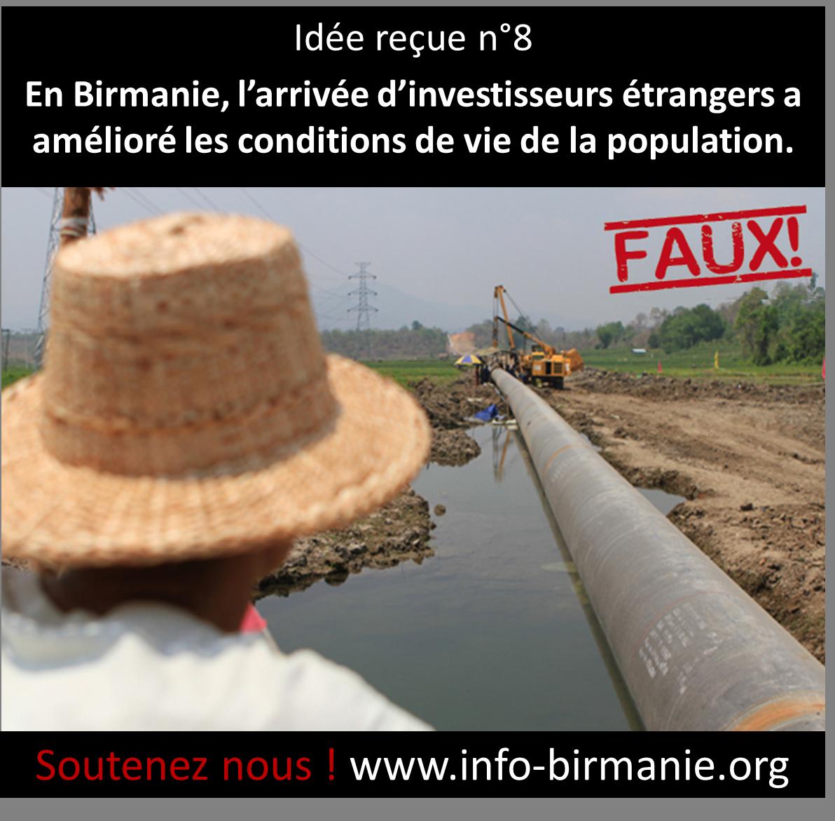 Idée reçue n°8: En Birmanie, l'arrivée d'investisseurs étrangers a amélioré les conditions de vie de la population