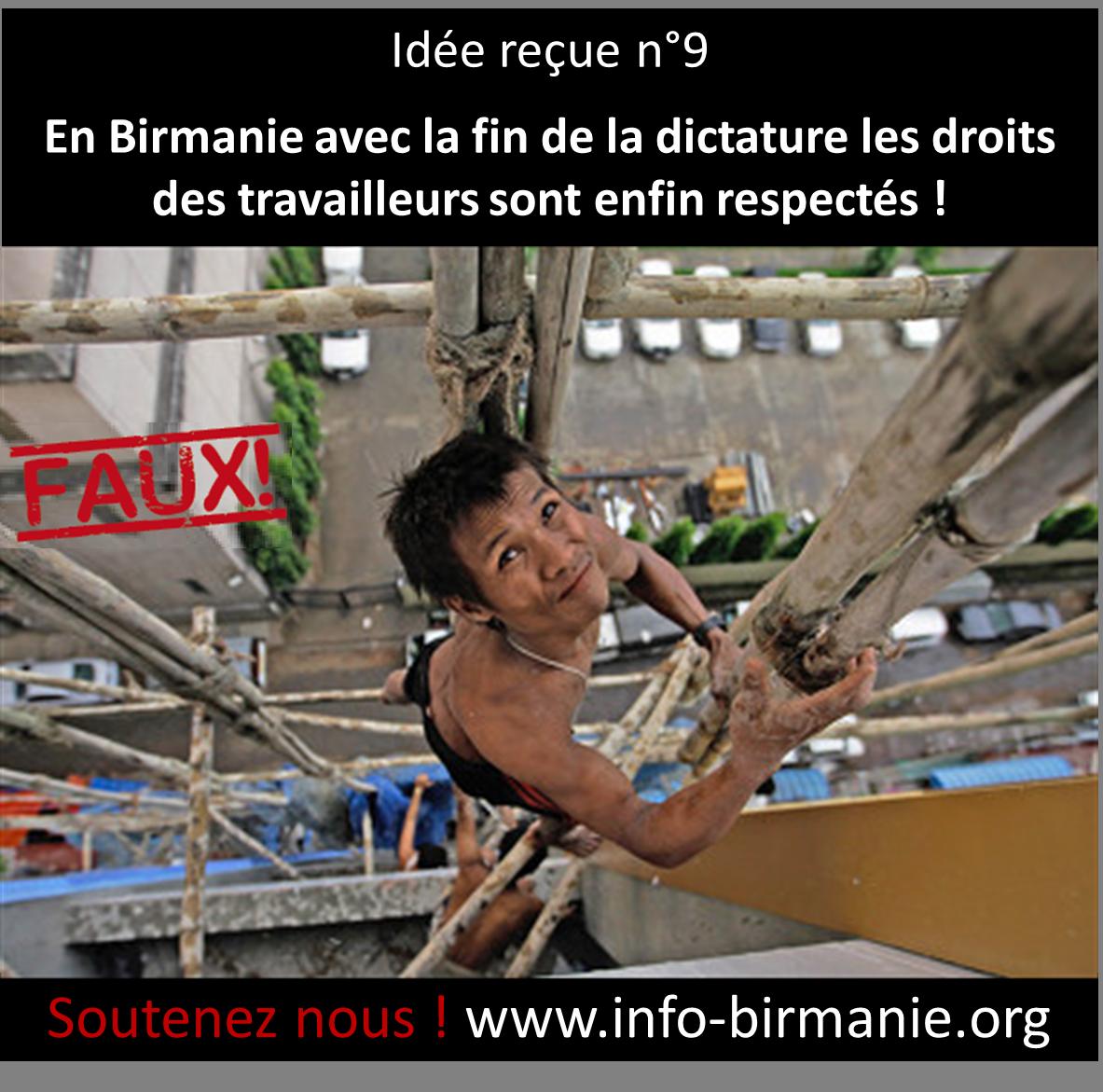 Idée reçue n°9 : En Birmanie avec la fin de la dictature les droits des travailleurs sont enfin respectés !