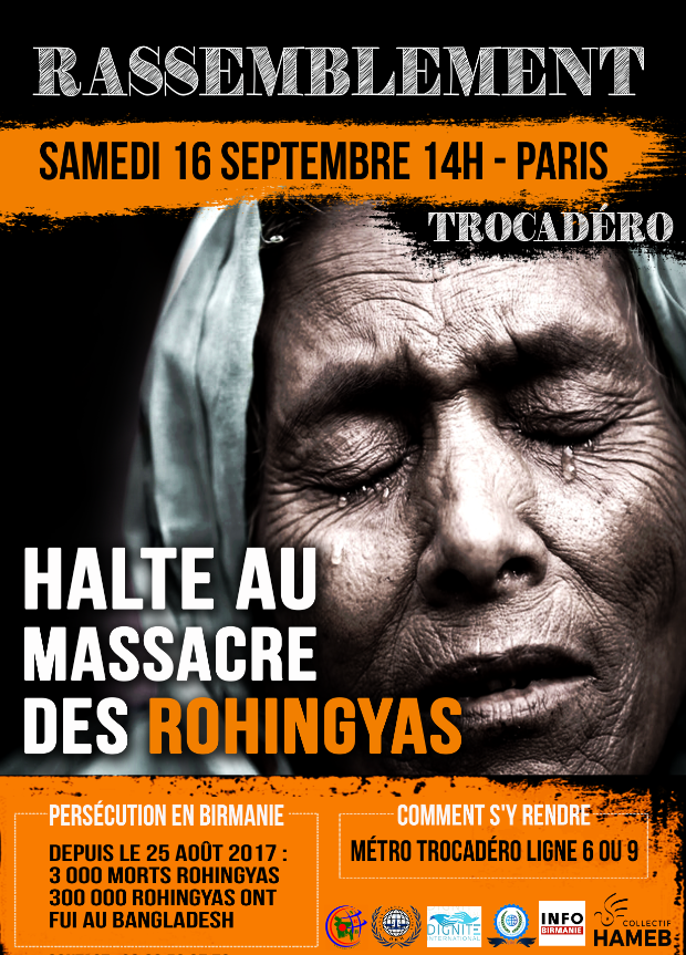 Rassemblement en soutien aux Rohingya – Samedi 16 septembre à 14h au Trocadéro