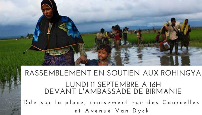 Rassemblement devant l'ambassade de Birmanie – soutien aux Rohingya – Lundi 11 septembre 16h