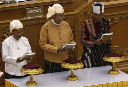 Birmanie : portraits du président et des deux vice-présidents élus